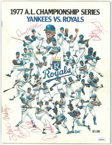 1977 AL Championship signed game program NY Yankees KC Royals 5 sigs Whitey Herzog, Dick Tidrow, Cookie Rojas- JSA DD64765 PSM-Powers Sports Memorabilia