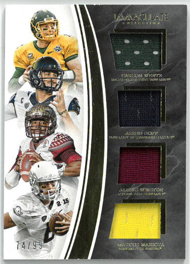 Carson Wentz/Jared Goff/Jameis Winston/Marcus Mariota 2016 Panini Immac Collection Collegiate Player Worn Jersey Card #10- 74/99 PSM-Powers Sports Memorabilia