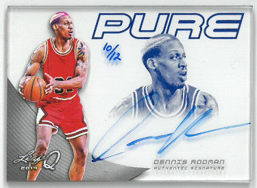 Dennis Rodman signed Chicago Bulls 2014 Leaf Pure Basketball Card #P-DR1- LTD 10/12 PSM-Powers Sports Memorabilia