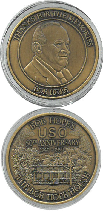 Bob Hope USO 50th Anniversary Bronze Medal Commemorative Coin PSM-Powers Sports Memorabilia