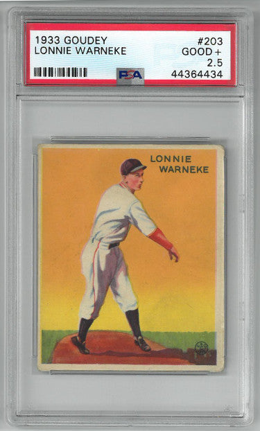 Lonnie Warneke Chicago Cubs 1933 Goudey Baseball Card #203- PSA Graded 2.5 Good+ PSM-Powers Sports Memorabilia