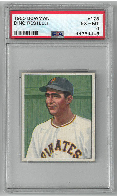 Dino Restelli Pittsburgh Pirates 1950 Bowman Baseball Card #123- PSA Graded 6 Excellent- Mint PSM-Powers Sports Memorabilia