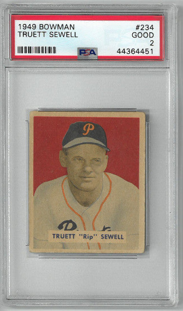 Truett Sewell Pittsburgh Pirates 1949 Bowman Baseball Card #234- PSA Graded 2 Good PSM-Powers Sports Memorabilia