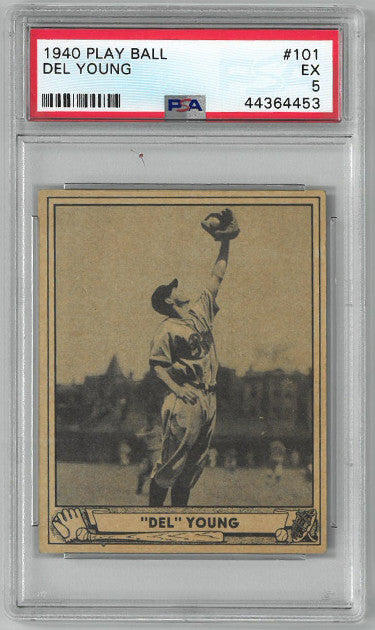 Del Young Philadelphia Phillies 1940 Play Ball Baseball Card #101- PSA Graded 5 Excellent PSM-Powers Sports Memorabilia