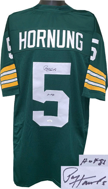 Paul Hornung signed Green TB Custom Stitched Pro Style Football Jersey #5 HOF 86 XL- JSA Witnessed Hologram PSM-Powers Sports Memorabilia