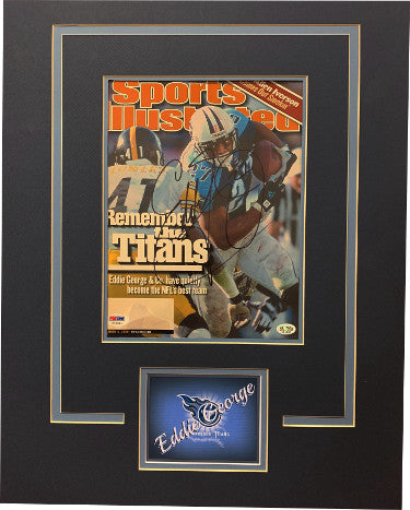 Eddie George signed Tennessee Titans Sports Illustrated Magazine Matted (16x20) November 13, 2000 #27- PSA Hologram #Y70084 PSM-Powers Sports Memorabilia