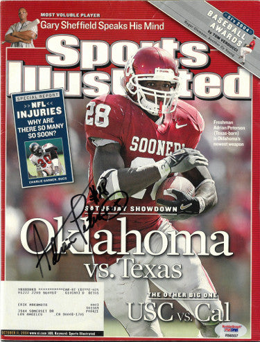 Adrian Peterson signed Oklahoma Sooners Sports Illustrated Full Magazine 10/11/04- PSA RookieGraph Hologram #R56557 - minor wear PSM-Powers Sports Memorabilia