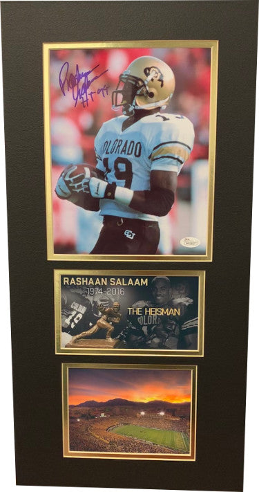 Rashaan Salaam signed Colorado Buffaloes 8x10 Photo Heisman 94 3 photo 12x24 Matted- JSA Witnessed Hologram #WP18027 PSM-Powers Sports Memorabilia