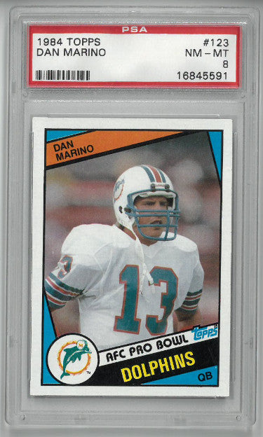 Dan Marino Miami Dolphins 1984 Topps Football Rookie Card (RC) #123- PSA Graded 8 NM-MT PSM