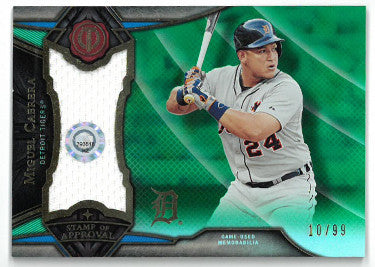 Miguel Cabrera Detroit Tigers 2016 Topps Tribute Game Used Relic Card #SOA-MC- LTD 10/99 PSM