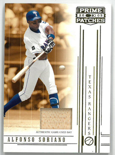 Alfonso Soriano Texas Rangers 2005 Donruss Prime Patches Game Used Bat Card #75- LTD 067/150 PSM-Powers Sports Memorabilia