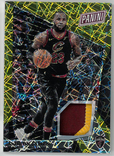 Lebron James Cleveland Cavaliers 2017-18 Panini National VIP Season Highlights Player Worn Jersey Card #59- LTD 1/5 PSM-Powers Sports Memorabilia