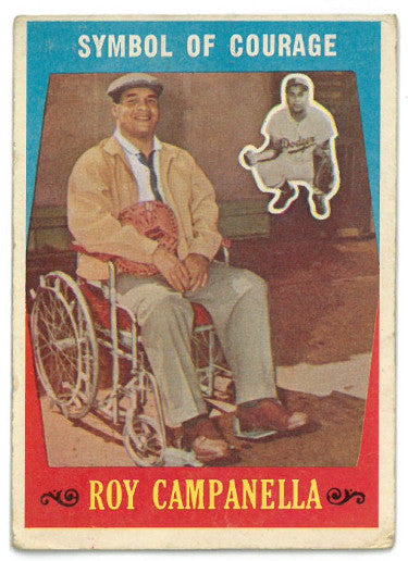 Roy Campanella Brooklyn Dodgers 1959 Topps Symbol of Courage Baseball Card #550- corner wear PSM-Powers Sports Memorabilia