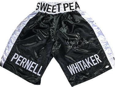 Pernell Whitaker signed Sweet Pea Black Satin Boxing Trunks- JSA Witnessed Hologram PSM-Powers Sports Memorabilia
