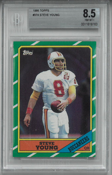 Steve Young Tampa Bay Buccaneers 1986 Topps Football Card #374-BGS Beckett Graded 8.5 Near Mint-Mint+ PSM-Powers Sports Memorabilia