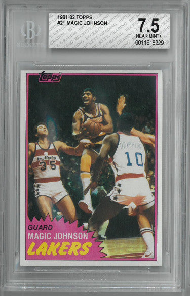 Magic Johnson Los Angeles Lakers 1981-82 Topps Basketball Card #21- BGS Beckett Graded 7.5 Near Mint+ PSM-Powers Sports Memorabilia