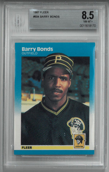 Barry Bonds Pittsburgh Pirates 1987 Fleer Rookie Card (RC) #604- BGS Beckett Graded 8.5 Near Mint-Mint+ PSM-Powers Sports Memorabilia
