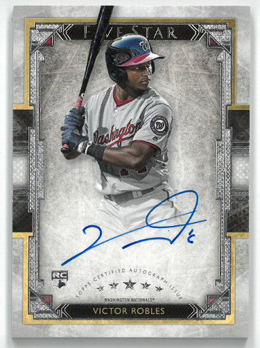 Victor Robles signed Washington Nationals 2018 Topps Five Star Rookie Baseball Card (RC) #FSA-VR PSM-Powers Sports Memorabilia