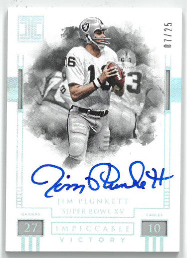 Jim Plunkett signed Oakland Raiders 2018 Panini Impeccable Victory Football Card #IV-JP- LTD 07/25 PSM-Powers Sports Memorabilia