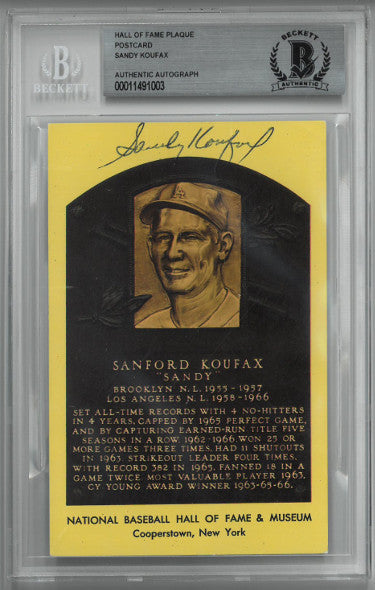 Sandy Koufax signed Los Angeles Dodgers HOF Plaque 3.5x5.5 Postcard- Beckett/BAS #00011491003 Slabbed PSM-Powers Sports Memorabilia
