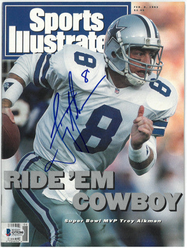 Troy Aikman signed Dallas Cowboys Sports Illustrated Full Magazine 2/8/1993 (No Label)- Beckett/BAS Hologram #Q75280 PSM-Powers Sports Memorabilia