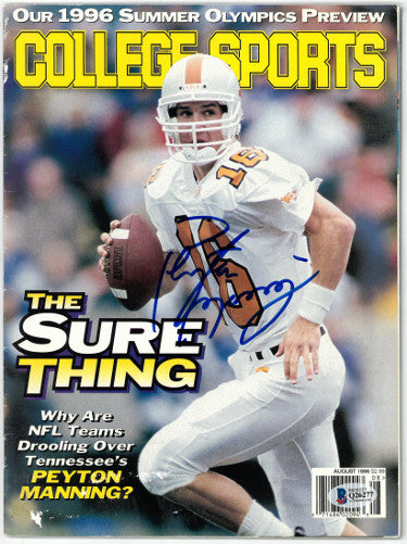 Peyton Manning signed Tennessee Volunteers College Sports Full Magazine August 1996 (No Label)- Beckett/BAS Hologram #Q26277 PSM-Powers Sports Memorabilia