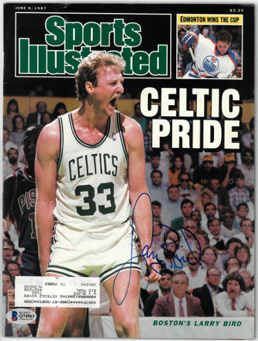 Larry Bird signed Boston Celtics Celtic Pride Sports Illustrated Full Magazine 6/8/1987 (Full Sig)- Beckett/BAS Hologram #Q74963 PSM-Powers Sports Memorabilia