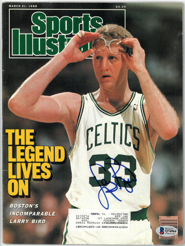 Larry Bird signed Boston Celtics The Legend Lives On Sports Illustrated Full Magazine 3/21/1988- Beckett/BAS Hologram #Q74964 PSM-Powers Sports Memorabilia