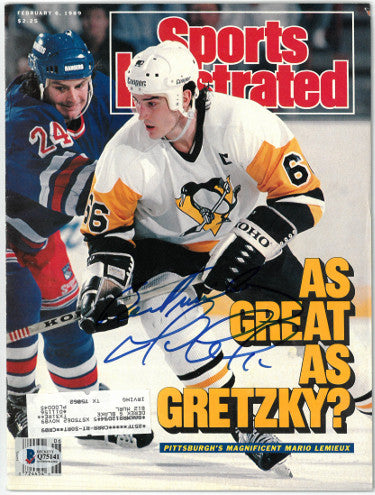 Mario Lemieux signed Pittsburgh Penguins Sports Illustrated Full Magazine 2/6/1989 Best Wishes- Beckett/BAS Hologram #Q75141 PSM-Powers Sports Memorabilia