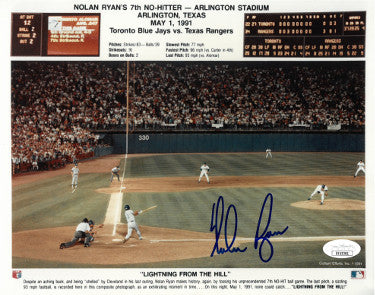 Nolan Ryan signed Texas Rangers 7th No-Hitter 8X10 Photo minor ding- JSA Hologram #EE63381 PSM-Powers Sports Memorabilia