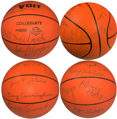 1968û69 UCLA Bruins National Champs signed Voit Official Collegiate Basketball 16 sigs-Lew Alcindor/John Wooden-JSA LOA #BB53504 PSM-Powers Sports Memorabilia