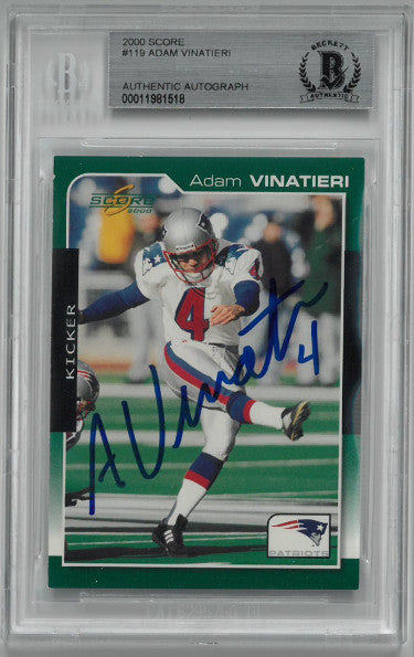 Adam Vinatieri signed New England Patriots 2000 Score Card #119- Beckett BAS #00011981518 PSM-Powers Sports Memorabilia