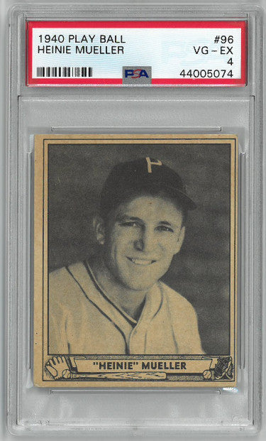Heinie Mueller 1940 Play Ball Baseball Card #96- PSA Graded 4 Very Good-Excellent (Philadelphia Phillies) PSM-Powers Sports Memorabilia