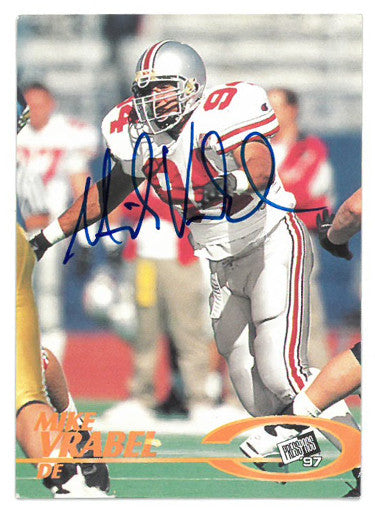 Mike Vrabel signed Ohio State Buckeyes 1997 Press Pass Certified Authentic Card PSM-Powers Sports Memorabilia