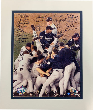 1998 NY Yankees World Series Champs Team signed 16x20 Photo 26 sigs Matted– JSA LOA Z96129 Mariano Rivera/Derek Jeter/Joe Torre PSM-Powers Sports Memorabilia