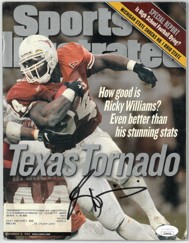 Ricky Williams signed Texas Longhorns Sports Illustrated Full Magazine 11/16/1998 cover wear- JSA #EE60306 (Heisman) PSM-Powers Sports Memorabilia