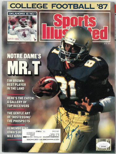 Tim Brown signed Sports Illustrated Full Magazine 8/31/1987- JSA #EE63368 (Notre Dame Fighting Irish) PSM-Powers Sports Memorabilia