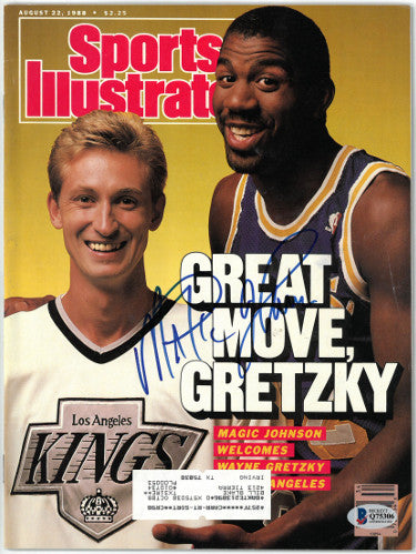 Magic Johnson signed Sports Illustrated Full Magazine 8/22/1988- Beckett/BAS #Q75306 (Los Angeles Lakers w/ Wayne Gretzky) PSM-Powers Sports Memorabilia