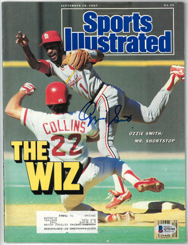 Ozzie Smith signed Sports Illustrated Full Magazine 9/28/1987- Beckett/BAS #Q75395 (St. Louis Cardinals) PSM-Powers Sports Memorabilia