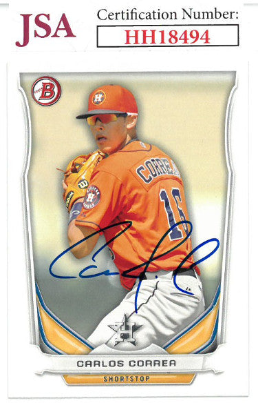 Carlos Correa signed 2014 Bowman Draft Top Prospects Baseball Card #TP-3- JSA #HH18494 (Houston Astros) PSM-Powers Sports Memorabilia