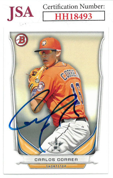Carlos Correa signed 2014 Bowman Draft Top Prospects Baseball Card #TP-3- JSA #HH18493 (Houston Astros) PSM-Powers Sports Memorabilia