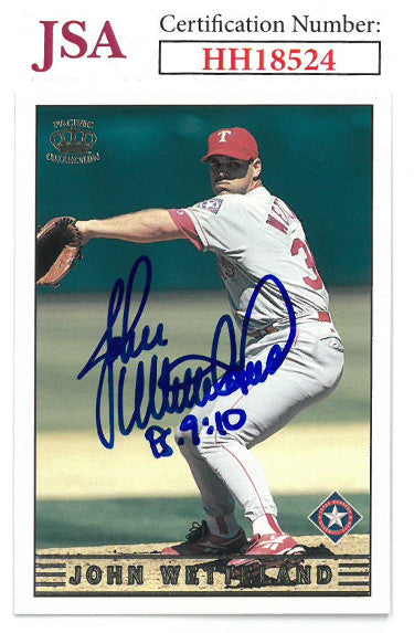 John Wetteland signed 1999 Pacific Baseball Card #290 PS 9:10- JSA #HH18551 (Texas Rangers) PSM-Powers Sports Memorabilia