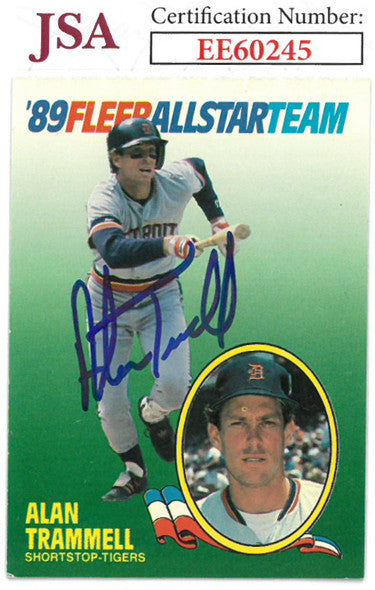 Alan Trammell signed 1989 Fleer All-Star Baseball Card #11- JSA #EE60245 (Detroit Tigers) PSM-Powers Sports Memorabilia