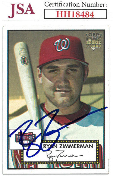 Ryan Zimmerman signed 2006 Topps '52 Rookie Baseball Card (RC) #270- JSA #HH18484 (Washington Nationals) PSM-Powers Sports Memorabilia