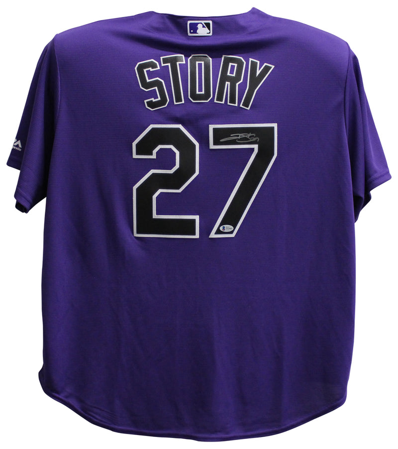 Trevor Story Autographed Colorado Rockies Majestic Purple 2XL Jersey BAS PSM-Powers Sports Memorabilia