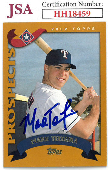 Mark Teixeira signed 2002 Topps Prospects Rookie Baseball Card #T169- JSA #HH18459 (Texas Rangers) PSM-Powers Sports Memorabilia
