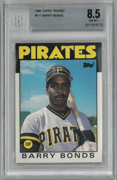 Barry Bonds 1986 Topps Traded Rookie Card (RC) #11T- Beckett Graded 8.5 Near Mint-Mint+ (Pittsburgh Pirates) PSM-Powers Sports Memorabilia