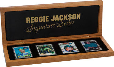 Reggie Jackson Signature Series Topps Porcelain Signed Card Set 1969 RC/HOF, 1973/MVP, 1977/563HR–JSA - Wooden Display #65/563 PSM-Powers Sports Memorabilia