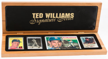 Ted Williams Signature Series 1958 Topps, 1939 Play Ball Porcelain 4 Card Set–1956 4x6 Signed–JSA LOA–Wooden Display #361/521 PSM-Powers Sports Memorabilia