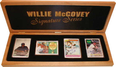 Willie McCovey Signature Series Topps Porcelain Signed Card Set 1960/HOF86, 1969/MVP'69, 1980/521HR – JSA- Wooden Box #61/521 PSM-Powers Sports Memorabilia